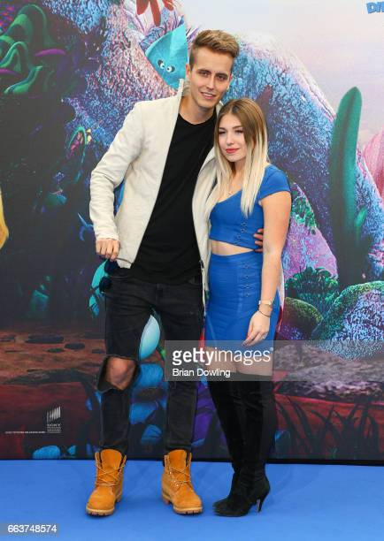Bianca 'Bibi' Heinicke and Julian Classen arrives at the 'Die Schluempfe Das verlorene Dorf' Berlin premiere at Sony Centre on April 2 2017 in Berlin...