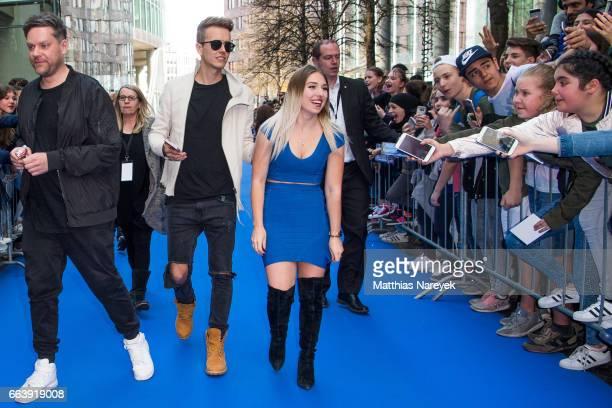 Bianca 'Bibi' Heinicke and Julian Classen attend the 'Die Schluempfe Das verlorene Dorf' Berlin Premiere at Sony Centre on April 2 2017 in Berlin...