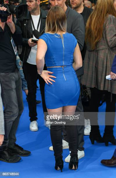 "Bianca ""Bibi"" Heinicke arrives at the ""Die Schluempfe - Das verlorene Dorf' Berlin premiere at Sony Centre on April 2, 2017 in Berlin, Germany."