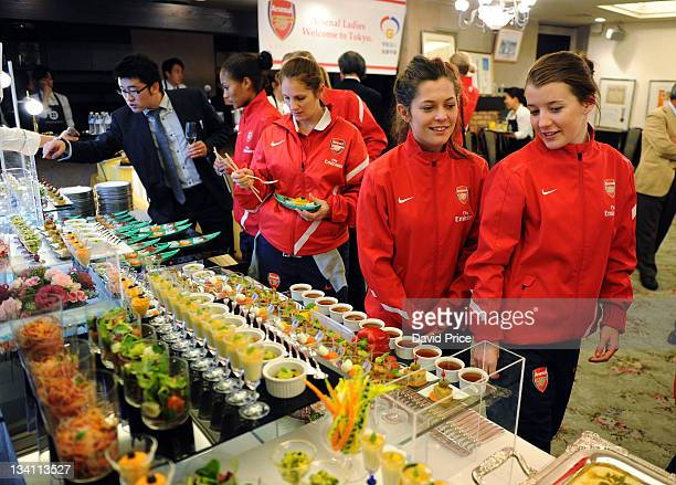 Bianca Bragg and Angharad James of Arsenal Ladies FC during an official welcome dinner during their tour to Japan on November 26 2011 in Tokyo Japan