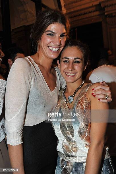 Bianca Brandolini and Delfina Delettrez attend the Dw by Kanye West Ready to Wear Spring / Summer 2012 show during Paris Fashion Week at Lycee Henri...