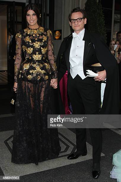 Bianca Brandolini and Hamish Bowles depart the Mark Hotel for the Met Gala at the Metropolitan Museum of Art on May 5 2014 in New York City