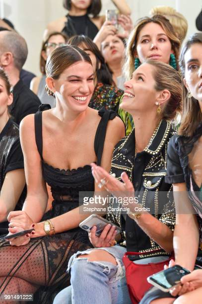 Bianca Brandolini and Helena Bordon attend the Elie Saab Haute Couture Fall/Winter 20182019 show as part of Haute Couture Paris Fashion Week on July...