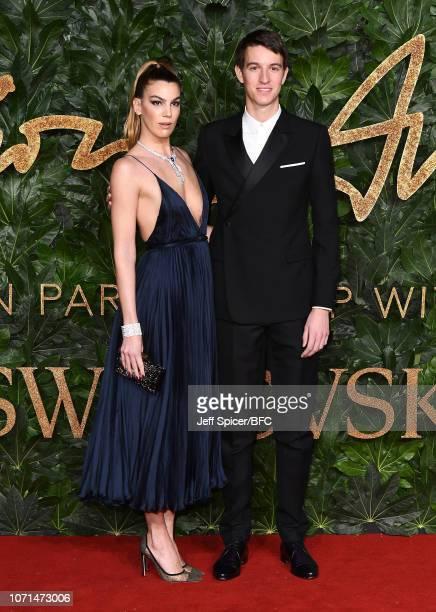 Bianca Brandolini D'Adda and Alexandre Arnault arrive at The Fashion Awards 2018 In Partnership With Swarovski at Royal Albert Hall on December 10...