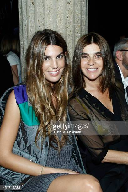 Bianca Brandolini d'Adda and Carine Roitfeld attends the Miu Miu Resort Collection 2015 at Palais d'Iena on July 5 2014 in Paris France