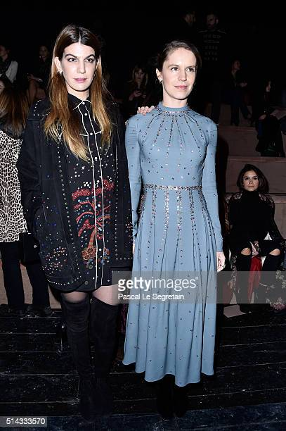 Bianca Brandolini D'Adda and Eugenie Niarchos attend the Valentino show as part of the Paris Fashion Week Womenswear Fall/Winter 2016/2017 on March 8...
