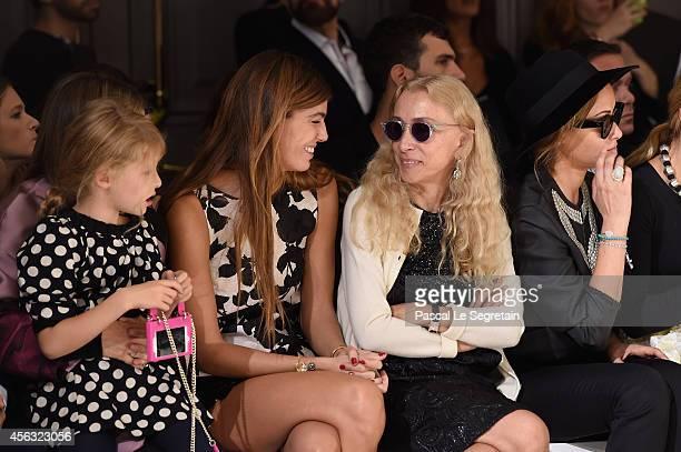 Bianca Brandolini d'Adda and Franca Sozzani attend the Giambattista Valli show as part of the Paris Fashion Week Womenswear Spring/Summer 2015 on...