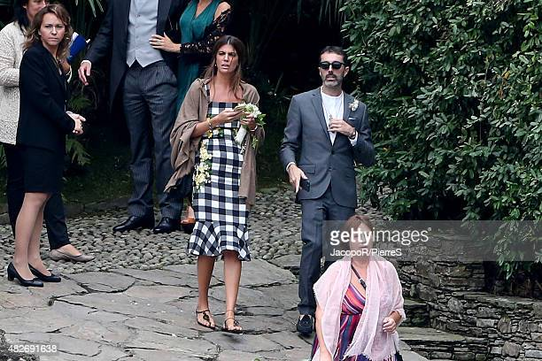 Bianca Brandolini D'adda and Giambattista Valli attend the wedding ceremony of Pierre Casiraghi and Beatrice Borromeo on August 1 2015 in Verbania...