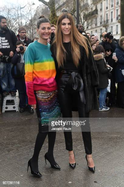 Bianca Brandolini d'Adda and Giovanna Battaglia attend the Valentino show as part of the Paris Fashion Week Womenswear Fall/Winter 2018/2019 on March...