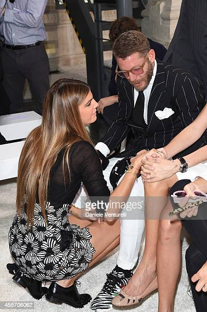 Bianca Brandolini d'Adda and Lapo Elkann attend the Giamba Show as part of Milan Fashion Week Womenswear Spring/Summer 2015 on September 19 2014 in...