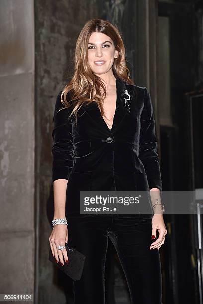Bianca Brandolini d'Adda arrives at the Giorgio Armani Prive fashion show Paris Fashion Week Haute Coture Spring /Summer 2016 on January 26 2016 in...