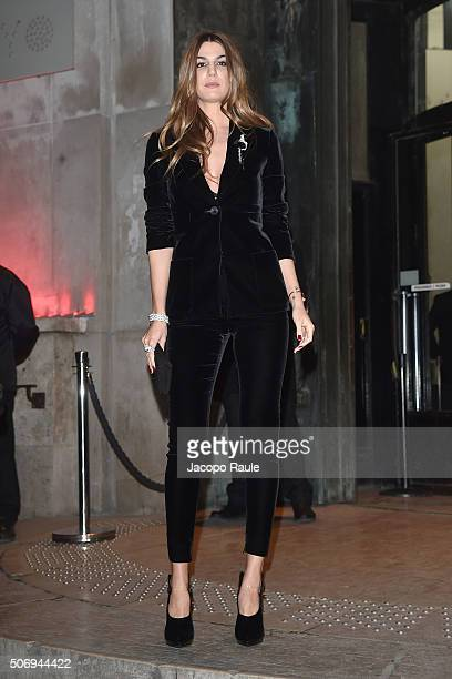 Bianca Brandolini d'Adda arrives at the Giorgio Armani Prive fashion show Paris Fashion Week Haute Coture Spring /Summer 2016 on January 26 2016 in...