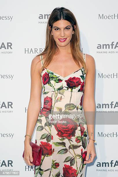 Bianca Brandolini dÕAdda attends the amfAR dinner at the Pavillon LeDoyen during the Paris Fashion Week Haute Couture on July 5 2015 in Paris France