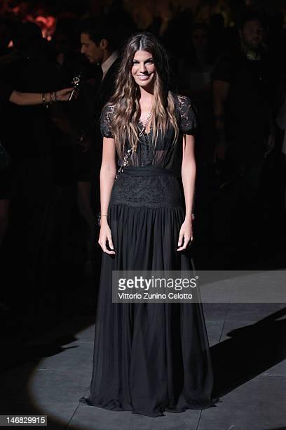 Bianca Brandolini d'Adda attends the Dolce Gabbana show as part of Milan Fashion Week Menswear Spring/Summer 2013 on June 23 2012 in Milan Italy