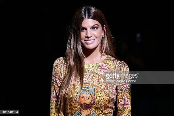Bianca Brandolini D'Adda attends the Dolce Gabbana show as part of Milan Fashion Week Womenswear Spring/Summer 2014 at on September 22 2013 in Milan...