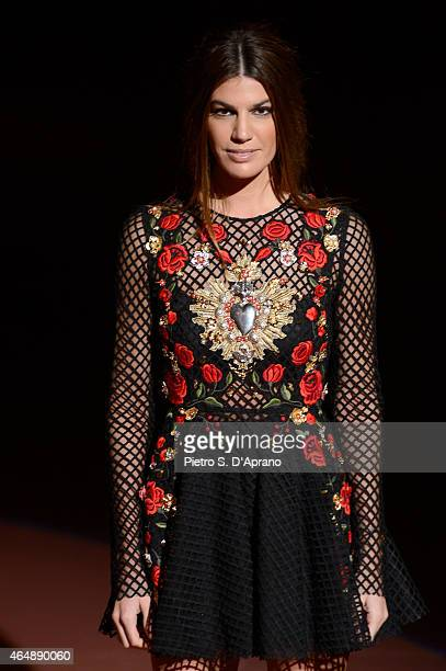 Bianca Brandolini d'Adda attends the DolceGabbana show during the Milan Fashion Week Autumn/Winter 2015 on March 1 2015 in Milan Italy