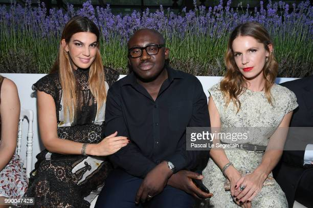 Bianca Brandolini d'Adda Edward Enninful and Eugenie Niarchos attend the Giambattista Valli Haute Couture Fall Winter 2018/2019 show as part of Paris...