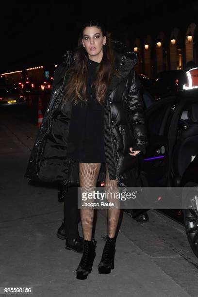 Bianca Brandolini D'Adda is seen arriving at H M fashion show during Paris Fashion Week Womenswear Fall/Winter 2018/2019 on February 28 2018 in Paris...