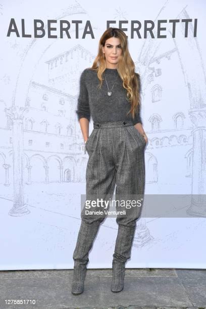 Bianca Brandolini d'Adda is seen arriving at the Alberta Ferretti fashion show during the Milan Women's Fashion Week on September 23, 2020 in Milan,...