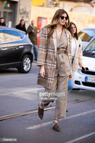 Bianca Brandolini d'Adda, is seen outside Agnona show, during Milan Fashion Week Fall/Winter 2020-2021 on February 22, 2020 in Milan, Italy.