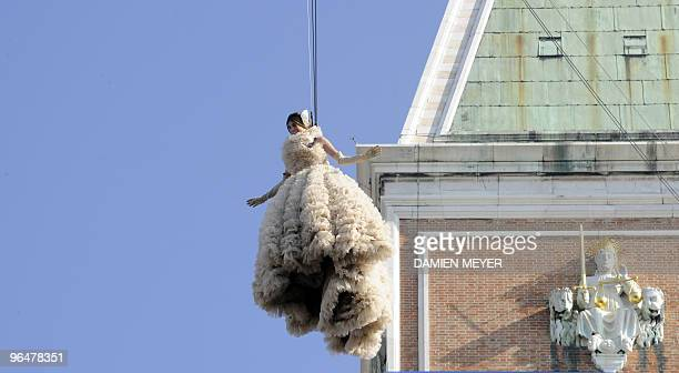 Bianca Brandolini d'Adda performs the Angel Flight from the Campanile on San Marco square in Venice on February 7 2010 during the annual Venice...