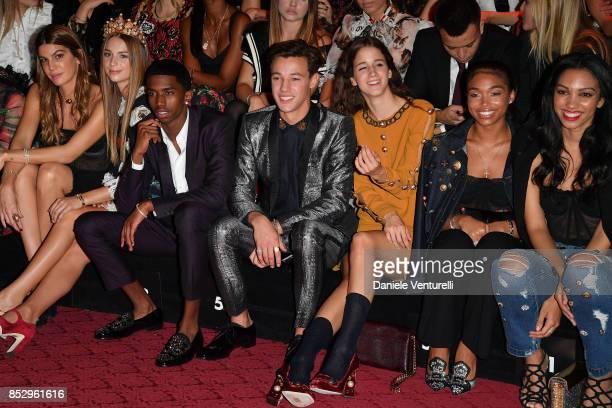 Bianca Brandolini d'Adda Talita Von Furstenberg Christian Combs Cameron Dallas Coco Konig a guest and Corinne Foxx attend the Dolce Gabbana show...