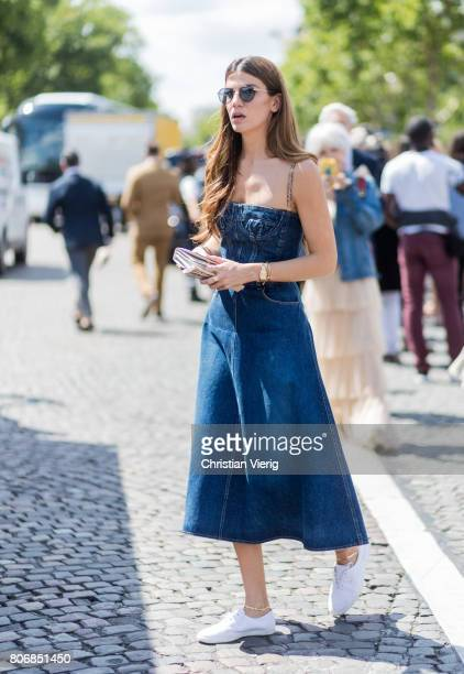 Bianca Brandolini d'Adda wearing a denim dress outside Dior during Paris Fashion Week Haute Couture Fall/Winter 20172018 Day Two on July 3 2017 in...