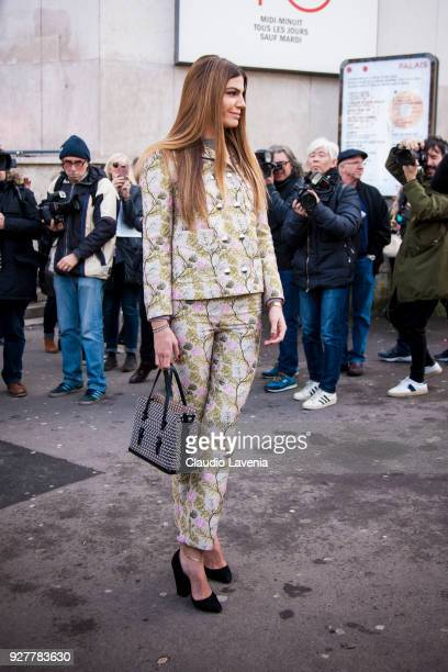 Bianca Brandolini d'Adda wearing a Giambattista Valli total look is seen in the streets of Paris before the Giambattista Valli show during Paris...