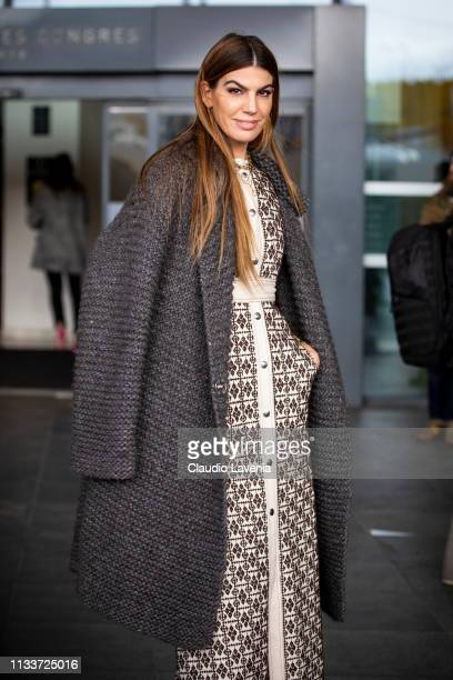 Bianca Brandolini D'Adda wearing a long cream decorated dress and grey coat is seen outside Giambattista Valli on Day 8 Paris Fashion Week...