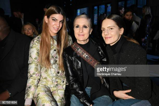 Bianca Brandolini d'AddaMaria Grazia Chiuri and Rachele Regini attend the Giambattista Valli show as part of the Paris Fashion Week Womenswear...