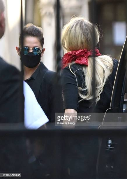 Bianca Butti and Amber Heard arrive for Johnny Depp's libel case against the Sun Newspaper at the Royal Courts of Justice Strand on July 07 2020 in...