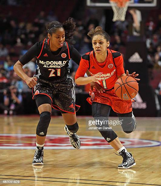 Bianca Cuevas of the east team moves against Jordin Canada of the west team during the 2014 McDonald's All American Game at United Center on April 2...