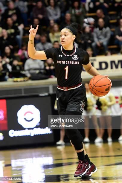 Bianca CuevasMoore guard University of South Carolina Gamecocks signals a play against the Purdue University Boilermakers December 16 at Mackey Arena...