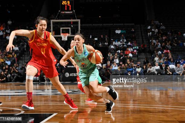 Bianca CuevasMoore of the New York Liberty drives to the basket against the China National Team on May 9 2019 at the Barclays Center in Brooklyn New...