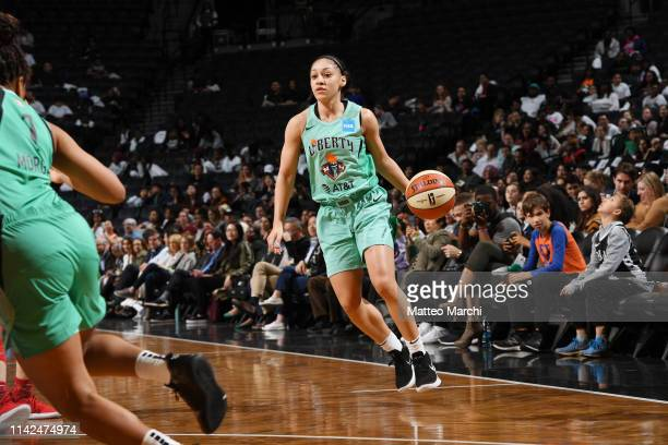 Bianca CuevasMoore of the New York Liberty handles the ball against the China National Team on May 9 2019 at the Barclays Center in Brooklyn New York...