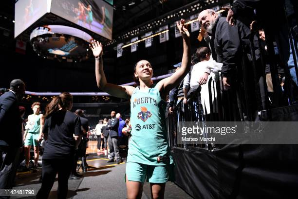 Bianca CuevasMoore of the New York Liberty leaves the floor following the game against the China National Team on May 9 2019 at the Barclays Center...