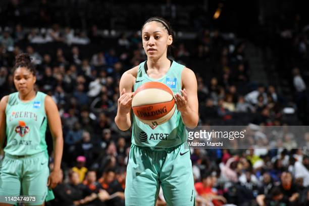 Bianca CuevasMoore of the New York Liberty shoots a free throw during the game against the China National Team on May 9 2019 at the Barclays Center...
