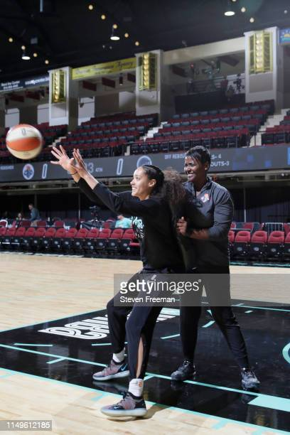 Bianca CuevasMoore of the New York Liberty warms up before the game against the Minnesota Lynx on May 8 2019 at the Westchester County Center in...