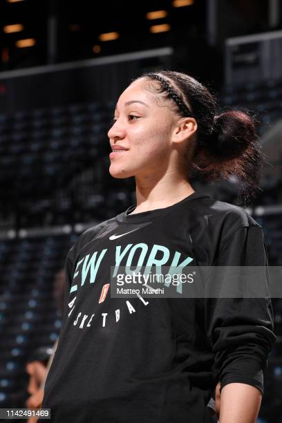 Bianca CuevasMoore of the New York Liberty warms up prior to the game against the China National Team on May 9 2019 at the Barclays Center in...