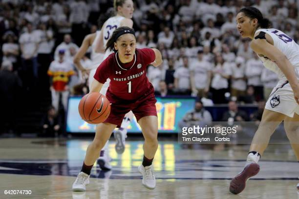 Bianca CuevasMoore of the South Carolina Gamecocksnin action during the UConn Huskies Vs South Carolina Gamecocks NCAA Women's Basketball game at...