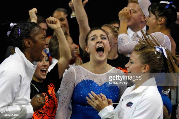 Bianca DancoseGiambattisto center of the University of Florida yells out after her team wins the the Division I Women's Gymnastics Championship held...