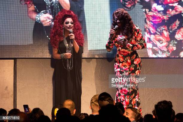 Bianca Del RIo and Bob The Drag Queen hosting onstage during 'RuPaul's Drag Race' Season 9 Finale Viewing Party at Stage 48 on June 23 2017 in New...