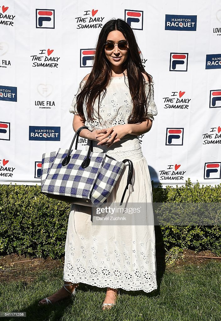 Bianca Espada attends The Daily Summer's celebration of Marion Bartoli's new LOVE FILA collection at Hampton Racquet on June 18, 2016 in East Hampton, New York.