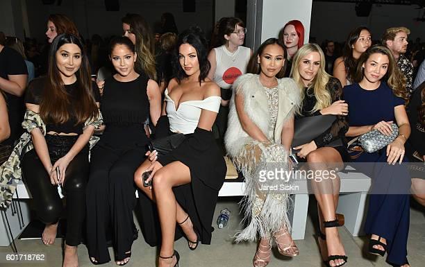 Bianca Espada Olivia Pierson Natalie Halcro Dorothy Wang Morgan Stewart and Sharleen Joynt sit front row at the Nicole Miller Spring 2017 Fashion...