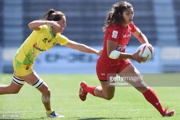 Bianca Farella of Canada runs with the ball during the HSBC World Rugby Women's Sevens Series 2016/17 Kitakyushu semi final between Australia and...