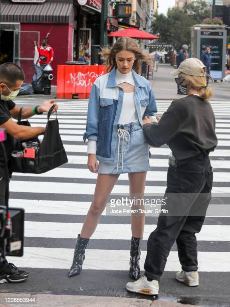 Bianca Feliciano is seen filming for 'Maybelline' commercial video on September 16 2020 in New York City