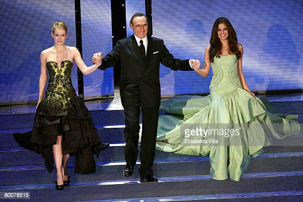 Bianca Guaccero Pippo Baudo and Andrea Osvart present during the 58th San Remo Music Festival at the Teatro Ariston on March 01 2008 in San Remo Italy