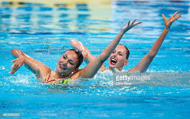 Bianca Hammett and Nikita Pablo of Australia compete in the Women's Duet Technical Preliminary Synchronised Swimming on day two of the 16th FINA...