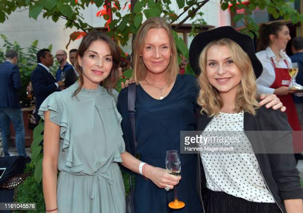 Bianca Hein, Carolin Fink and Sarah Thonig attend the Red Summer Night by Bunte.de at Rocco Forte The Charles Hotel on July 09, 2019 in Munich,...