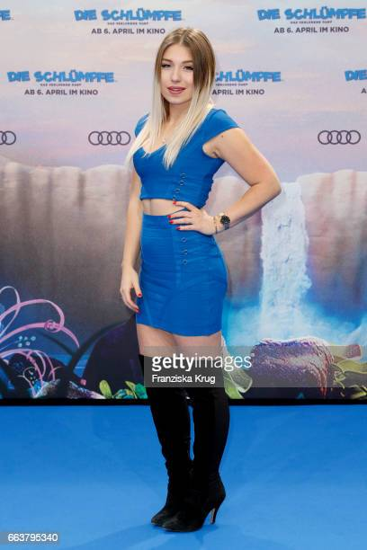 Bianca Heinicke attends 'Die Schluempfe Das verlorene Dorf' Berlin Premiere at Sony Centre on April 2 2017 in Berlin Germany